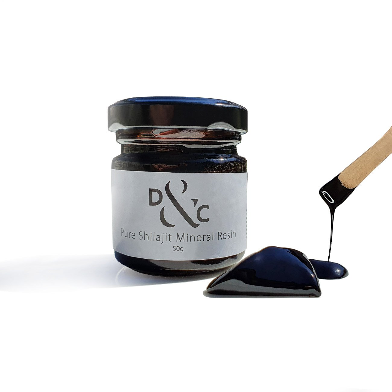 Pure Shilajit Mineral Resin Australia 50g in a jar with dip stick. 100 portions per jar. Also known as shilajit, mumijo, and momia.